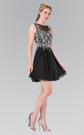 A-Line Short Bateau Sleeveless Chiffon Deep-V Back Dress With Appliques And Pleats