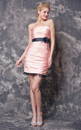 Strapless Ruched Short Satin Dress With Floral Satin Belt
