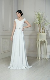 A-Line Floor-Length V-Neck Short-Sleeve Low-V-Back Chiffon Dress With Ruching And Beading