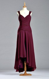 Sleeveless Tea-length Chiffon Dress with V Neckline