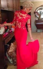 Red High Neck Mermaid Evening Dresses Long Sleeves Appliques Prom Dresses