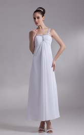 Strapped Chiffon Ankle-Length Dress With Beading