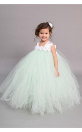 Satin Straps Empire Floral Top Tulle Ball Gown With Bow Sash