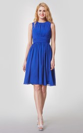 Ethereal Bateau Neck Sleeveless Chiffon Short Dress With