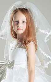 Sweet Crown Multi-layer Lace Bottom Tulle Flower Girl Veil