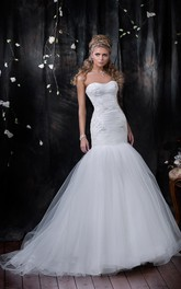 Trumpet Floor-Length Sweetheart Sleeveless Corset-Back Tulle Dress With Appliques And Ruching