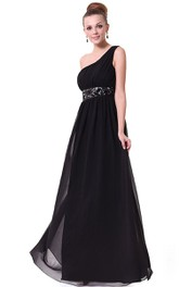One-shoulder Floor-Length Chiffon Dress With Embroidery