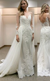 Long Sleeves Sheath Wedding Dress with Lace Detachable Train