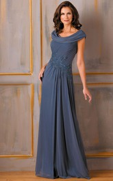 Cap-Sleeved A-Line Mother Of The Bride Dress With Appliques And Draping