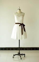 Jewel Neck Sleeveless A-Line Lace Short Dress With Chocolate Bow Sash