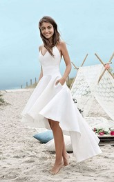 Simple High-low Beach Wedding Dress With Spaghetti Straps And Ruching