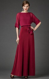 Bateau Bat Half Sleeve A-line Pleated Chiffon Long Dress With Sash