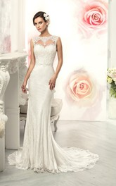 Mermaid Long Jewel Sleeveless Illusion Lace Dress With Appliques And Pleats