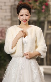 Bride Long-sleeved Wedding Shawl Korean Winter White Thick Warm Cardigan Jacket