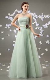 Chiffon Strapless A-Line Dress With Satin Sash and Flower