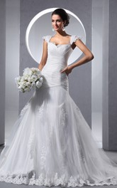Queen Anne Criss-Cross Ruching A-Line Dress With Tulle Overlay