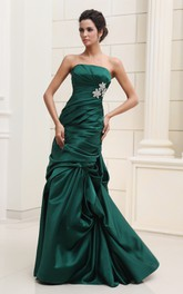 Satin Strapless Ruched Dress With Pick-Up Ruffles