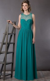 Crystal Neck Sleeveless A-Line Chiffon Long Mother Of The Bride Dress With Criss Cross Top