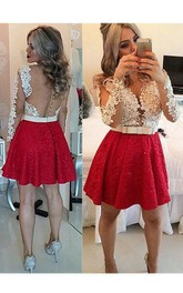 Short Mini Long Sleeve Beading Lace Keyhole Back Dress