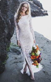 Lace Sheath Front Split Fitted Long Sleeve Bridal Gown