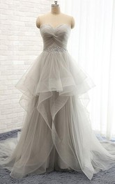Elegant A-line Scoop Wedding Dresses with Beading