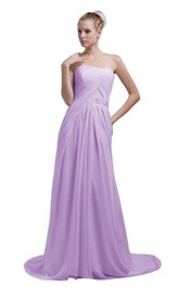 Train Strapless Chiffon A-line Gown With Beaded Band