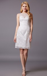 Form-fitted Illusion Neck Short Lace Dress