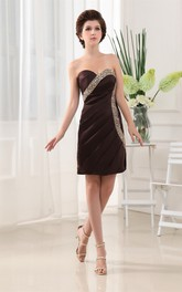 Sweetheart Pencil Ruched Dress With Rhinestone