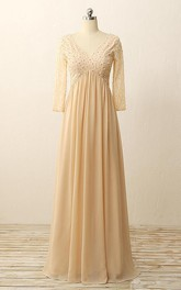 Floor-length V-neck Long Sleeve Zipper Chiffon Lace Dress