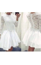 A-line 3 4 Length Sleeve Chiffon Lace High Neck Zipper Illusion Short Mini Homecoming Dress