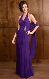 Halter Long Mother Of The Bride Dress With Beadings And Matching Shawl