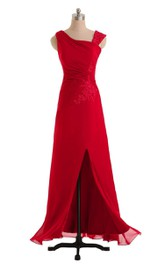 Gorgeous One-shoulder Slit Dress With Appliques