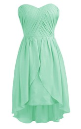 Asymmetrical Sweetheart Pleated Chiffon A-line Dress