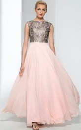 A-Line Bateau Cap Sleeves Lace Evening Dress