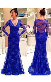 Long Sleeve V-neck Lace Dress with Illusion Back