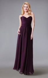 Strapless Sweetheart Long Chiffon Dress With Criss Cross Ruching