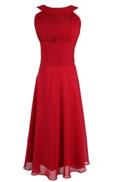 Full Length Sleeveless Pleated Dress With Ruched Waist