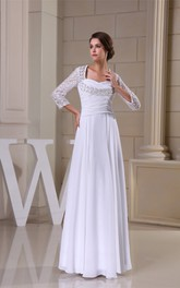 Long-Sleeve Pleated Criss-Cross Keyhole Back and Dress With Appliques