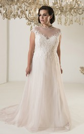 A-Line Floor-Length Jewel Neck Cap Tulle Chapel Train Illusion Appliques Dress