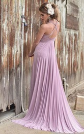 V Neck Pleated A-line Jersey Long Dress With Criss Cross Back