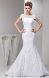 Mini-Sleeve Column Lace Gown With Low-V Back