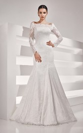 Off Shoulder Long Sleeve Floor-length Sheath Dress