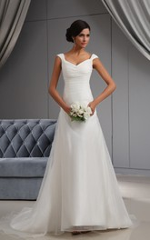 Deep V-Neck Ruching Organza Dress With Court Train