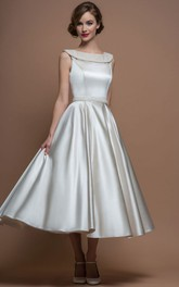 A-Line Scoop-Neck Tea-Length Satin Wedding Dress With Beading And V Back