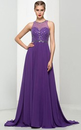 A-Line Jewel Neck Beading Long Prom Dress