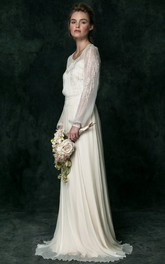V-Neck Long Puff-Sleeve Appliqued Chiffon Wedding Dress
