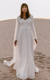 Bohemian V-neck Chiffon Lace A Line Long Sleeve Sweep Train Wedding Dress with V Back