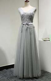 V Neck V Back Cap Sleeve A-line Pleated Tulle Long Dress With Applique and Belt