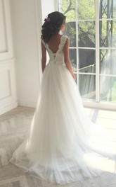 Sleeveless Lace White A-line Sweep Train Wedding Dress