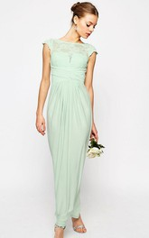 Sheath Ankle-Length Bateau Neck Cap Sleeve Lace Chiffon Bridesmaid Dress